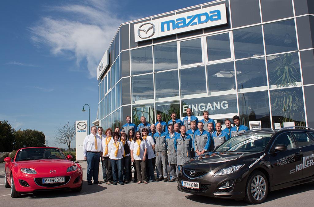 Das neue Mazda Logo schmückt unser Haus und das KOLLER Team wächst - Autohaus Koller | Mazda & Ford Händler