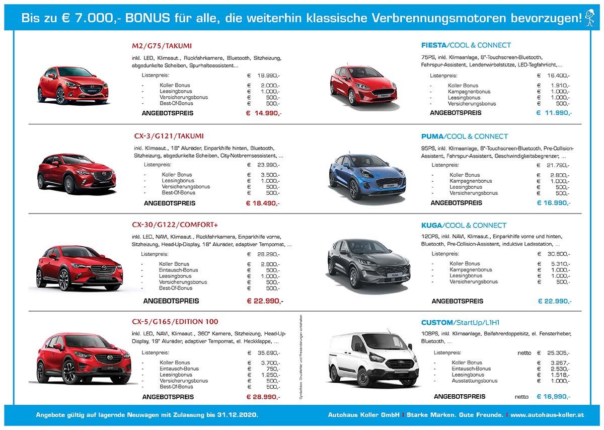Bonusaktion Lagerautos Herbst 2020 - Autohaus Koller