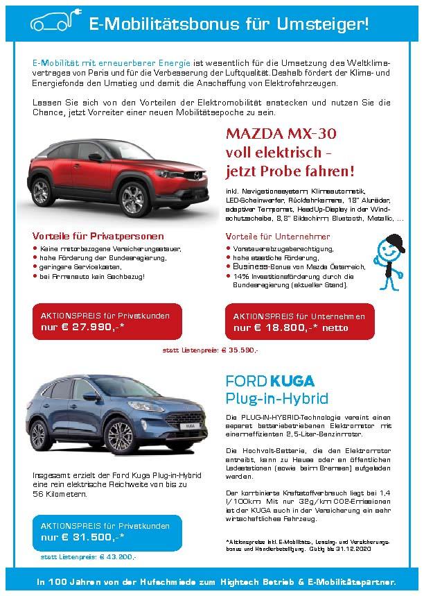 E-Mobilitätsbonus Herbst 2020 - Autohaus Koller