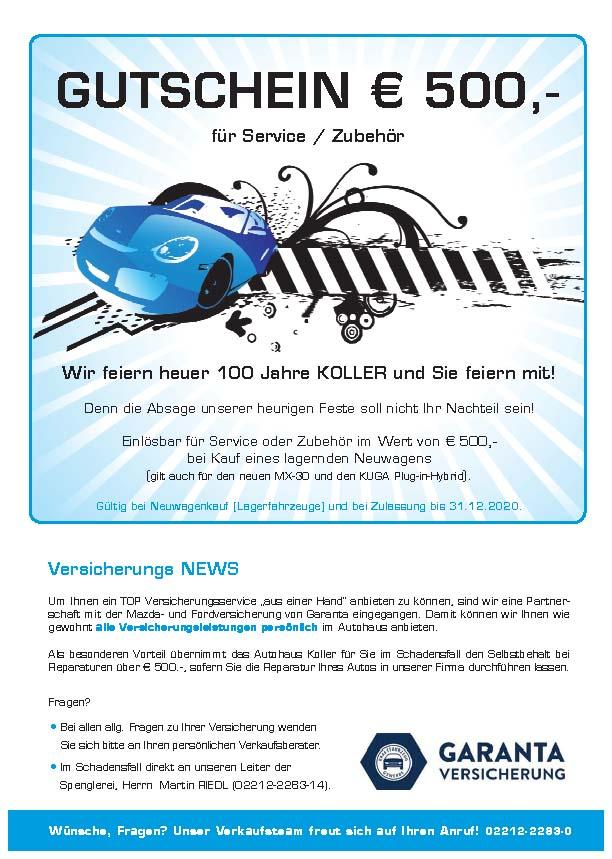 Gutschein Aktion Oktober 2020- Autohaus Koller