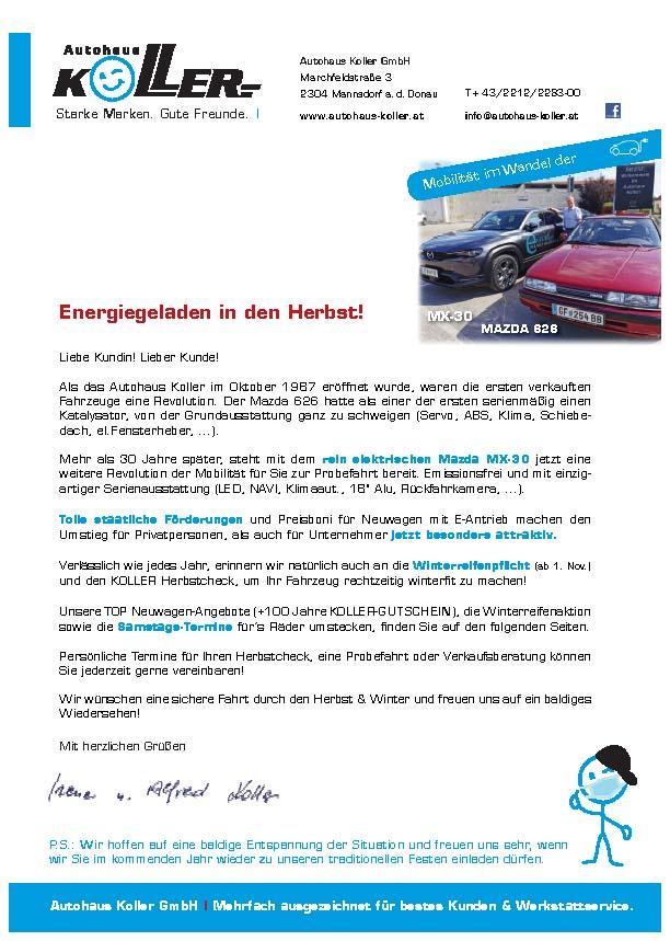 Herbstbrief 2020- Autohaus Koller